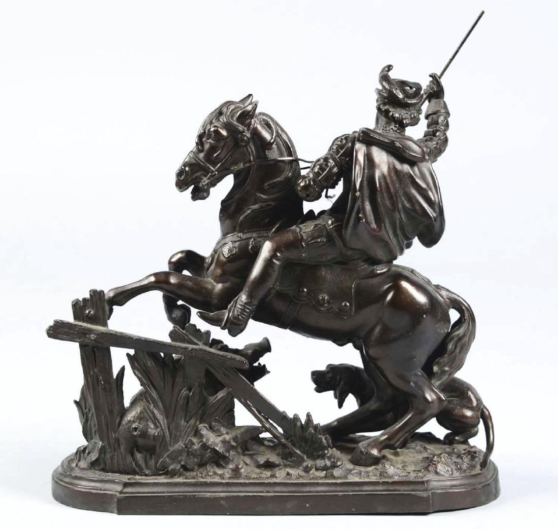 Horseman & Boar Bronze Sculpture. - 3
