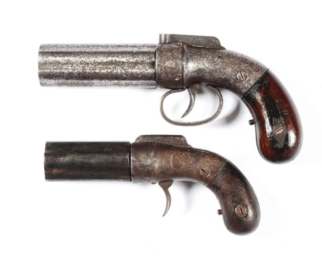 (A) Lot Of 2: Allen & Thurber Pepperbox Pistols. - 2