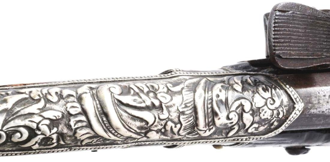 (A) Silver Stocked Albanian Miquelet Pistol. - 10
