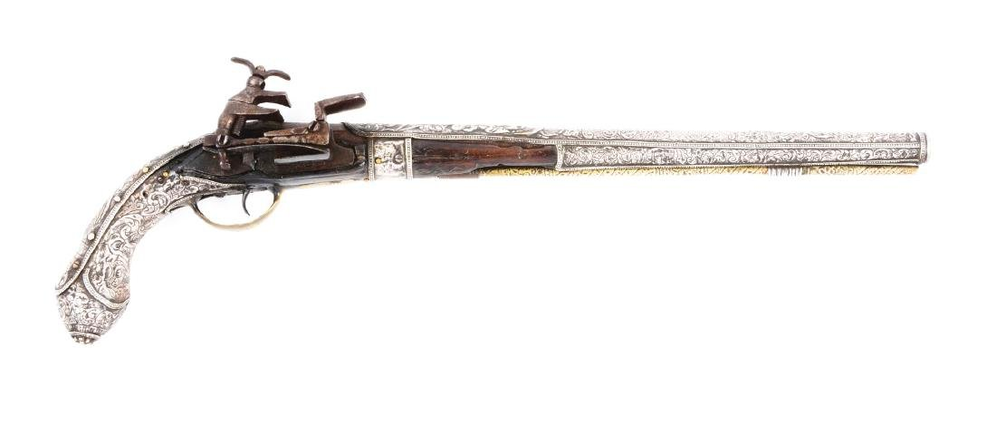 (A) Silver Stocked Albanian Miquelet Pistol.