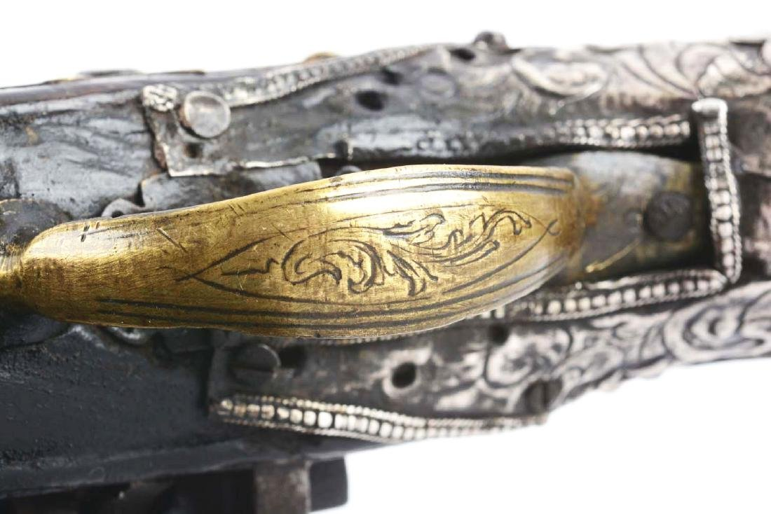 (A) Silver Stocked Albanian Miquelet Pistol. - 8