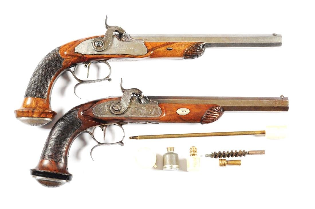 (A) Lot Of 2: Continental Percussion Target Pistols.