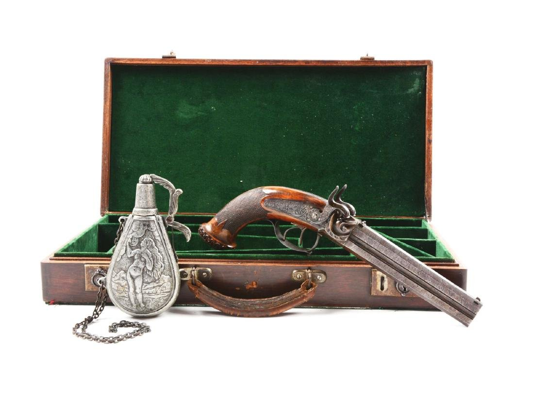 (A) Cased German Double Barrel Percussion Pistol by