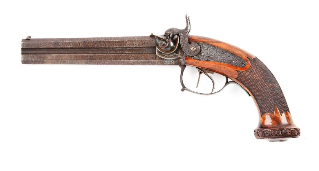 (A) Cased German Double Barrel Percussion Pistol by - 5