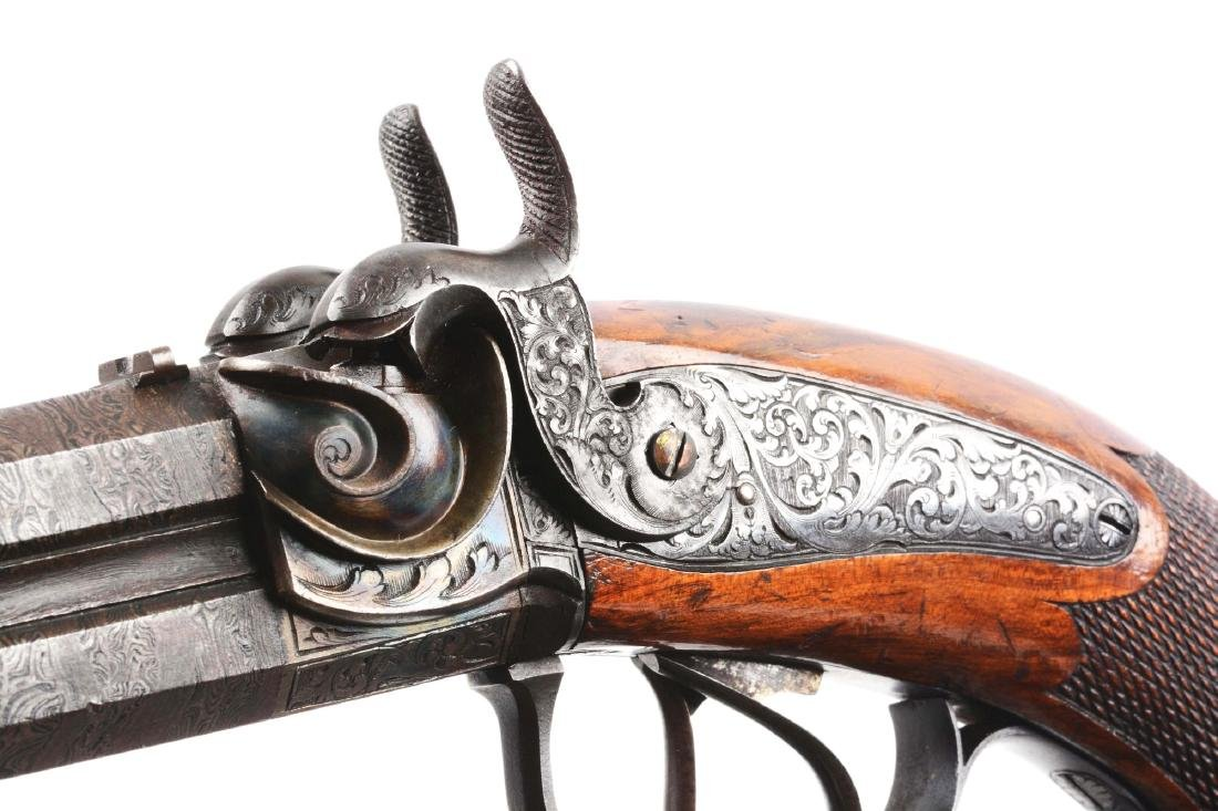 (A) Cased German Double Barrel Percussion Pistol by - 6