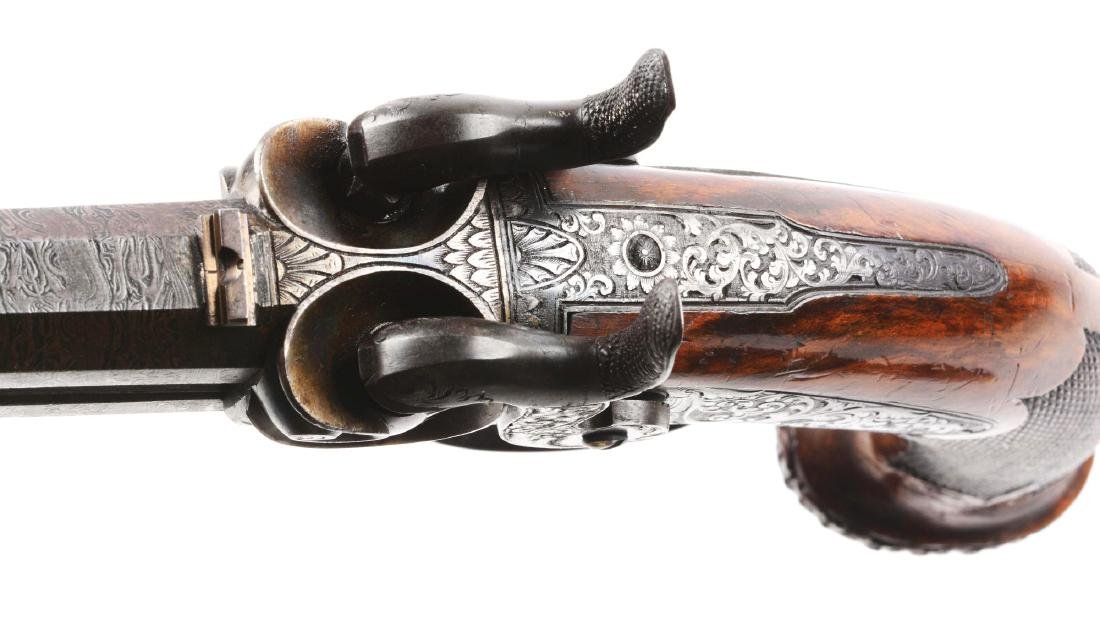 (A) Cased German Double Barrel Percussion Pistol by - 7