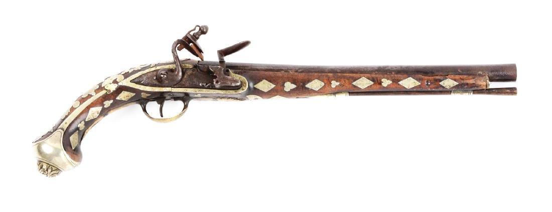(A) Ottoman Flintlock Pistol With Silver Overlays.