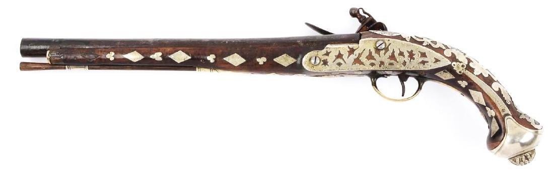 (A) Ottoman Flintlock Pistol With Silver Overlays. - 2