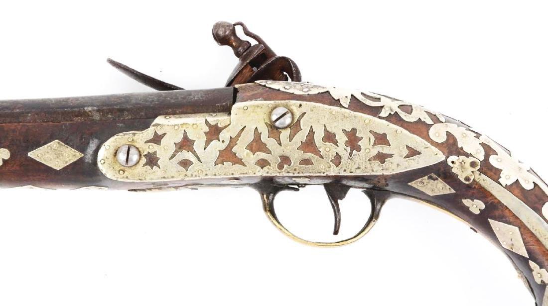 (A) Ottoman Flintlock Pistol With Silver Overlays. - 4