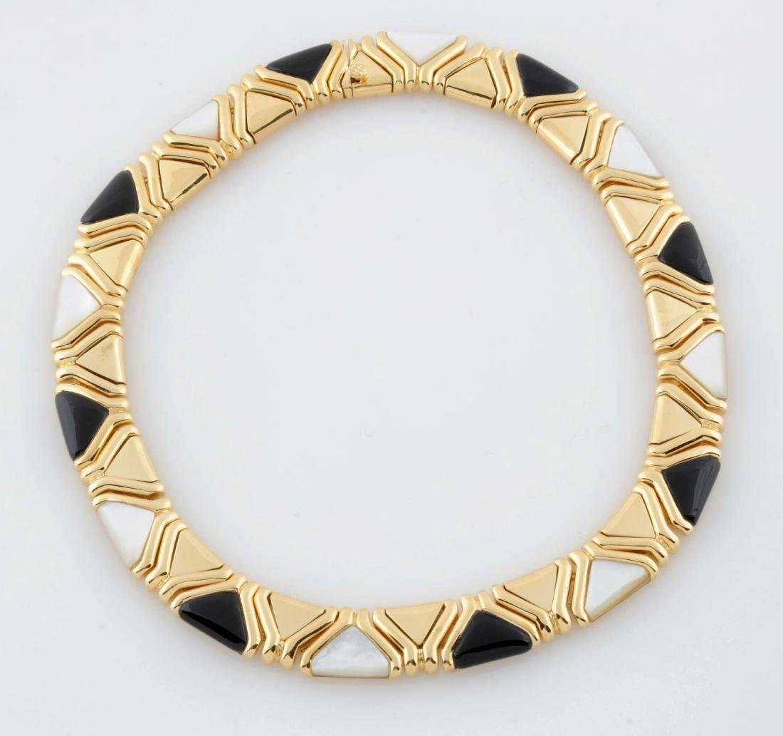 Gold Onyx & Pearl Necklace.