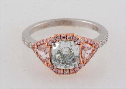 Fancy Green Blue Diamond Ring.