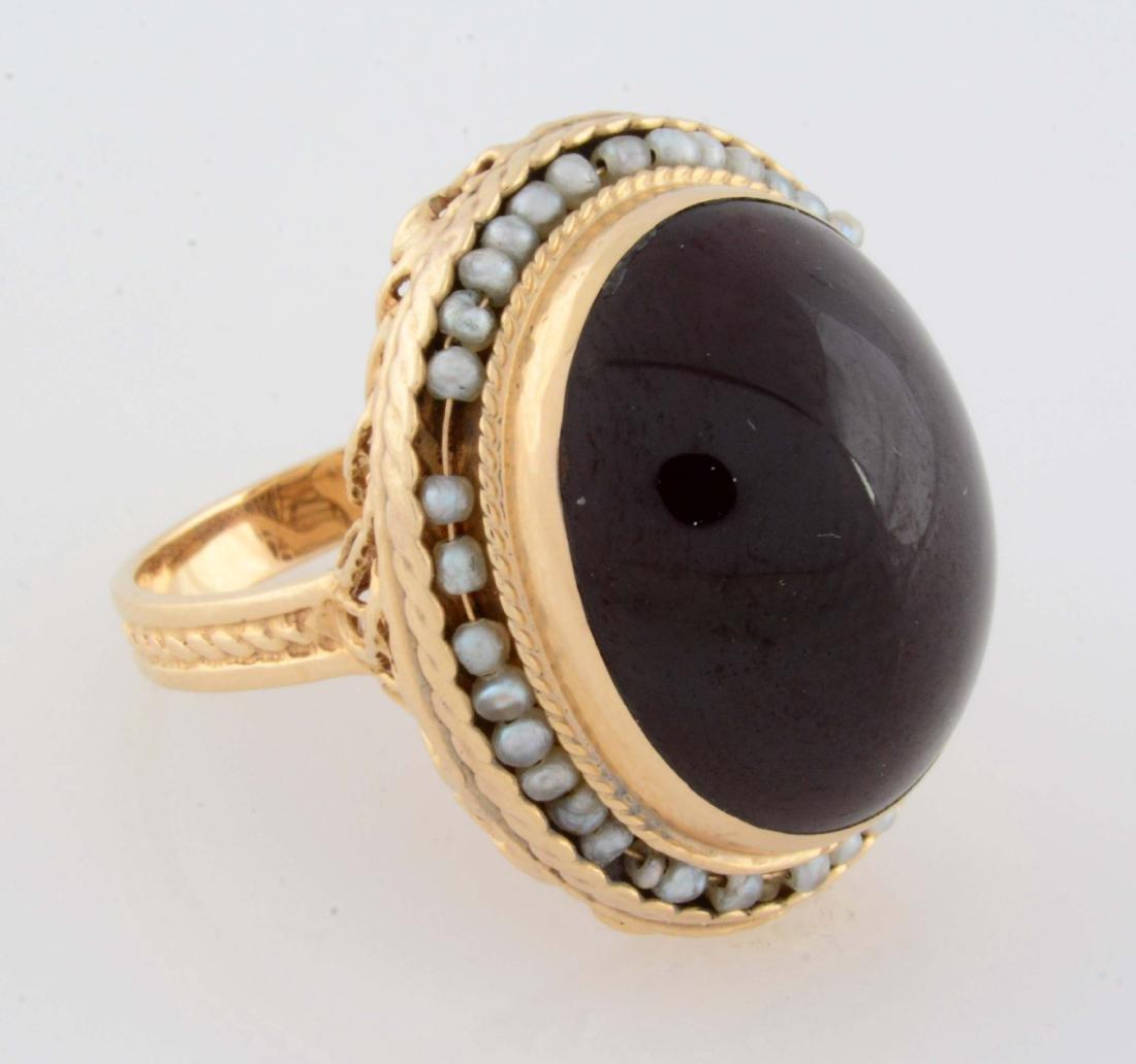 Garnet and Sea Pearl Ring.