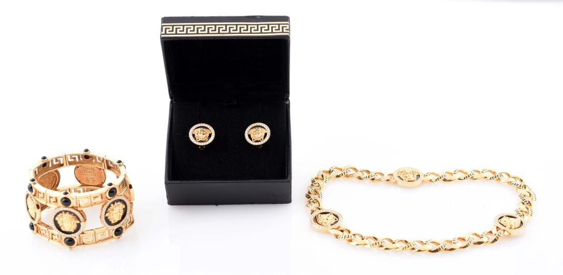 Versace Bangle, Earrings, and Necklace