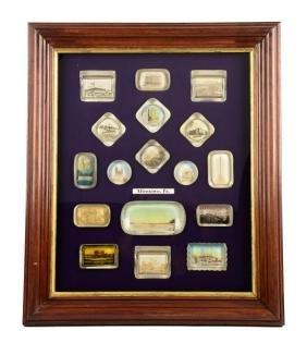 Framed Allentown, Pennsylvania Glass Paper Weights.
