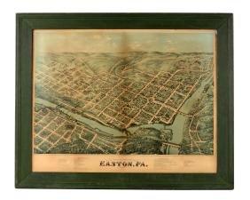 Framed Birdseye View Of Easton, Pa.