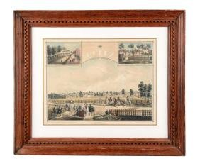 Framed Lithograph Of Lititz, Pa.