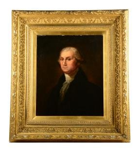 Large Framed Portrait Of George Washington.