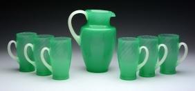 Lot Of 7: Steuben Art Glass Pitcher W/ Six Tumblers.
