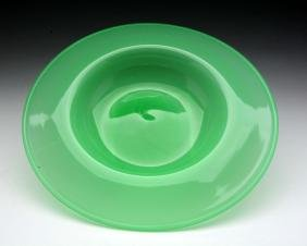 Monumental Steuben Green Jade Console Bowl.