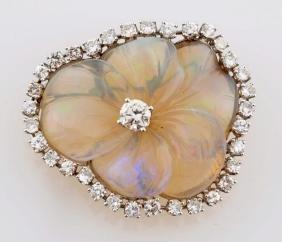 14k White Gold & Diamond Pin.