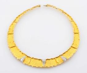 14k Yellow Gold & Diamond Necklace.