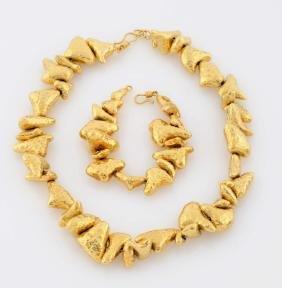 18k Yellow Gold Necklace & Matching Bracelet.