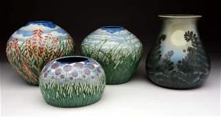 Lot of 4: Tim Eberhardt Contemporary Pots.