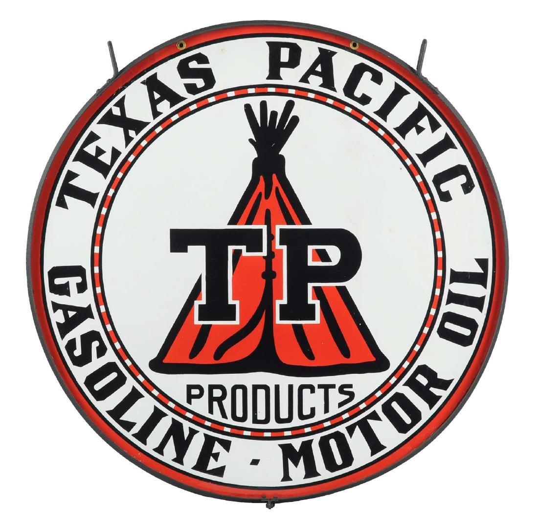 """Texas Pacific w/ Tee Pee Graphic 42"""" Porcelain Sign."""