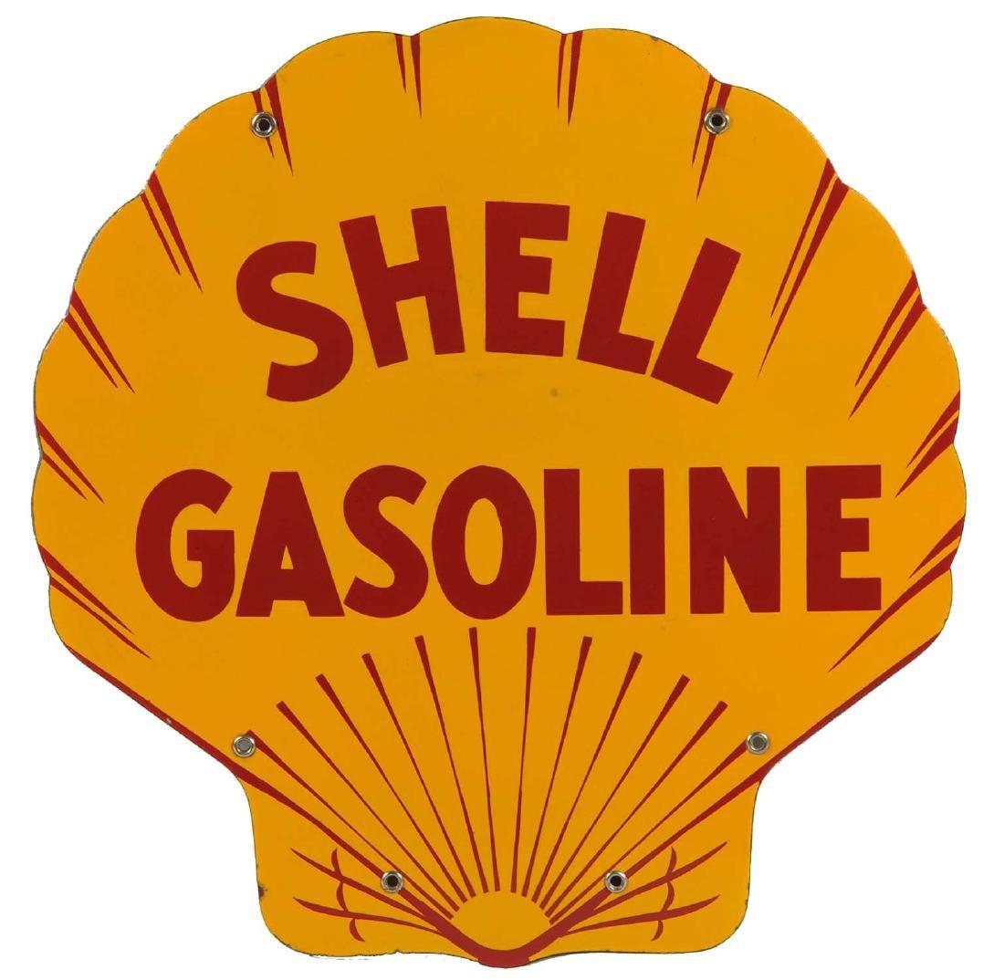 Shell Gasoline Porcelain Curb Sign.