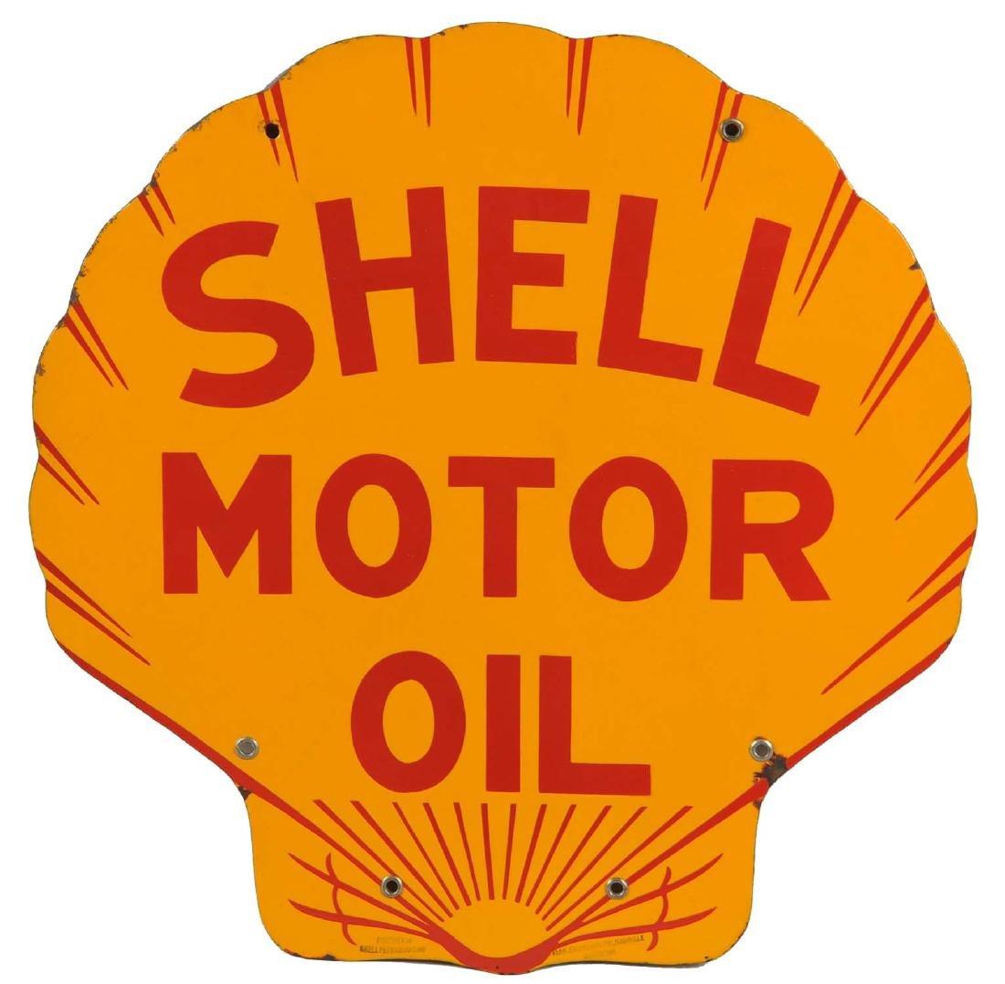 Shell Motor Oil Porcelain Curb Sign.