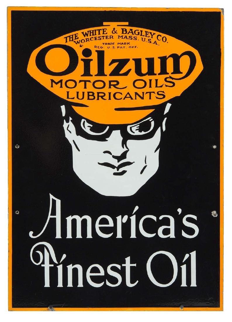 Oilzum Motor Oil Americas Finest Porcelain Curb Sign.