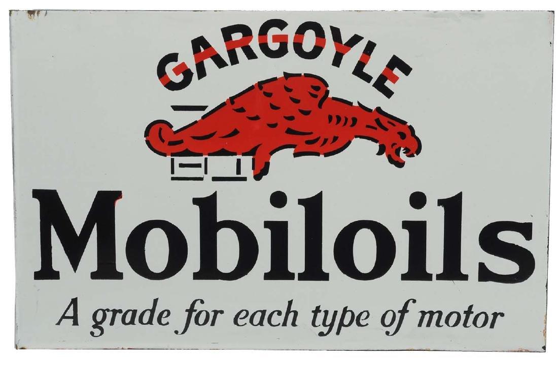NOS Mobil Gargoyle Mobiloils Porcelain Flange Sign.