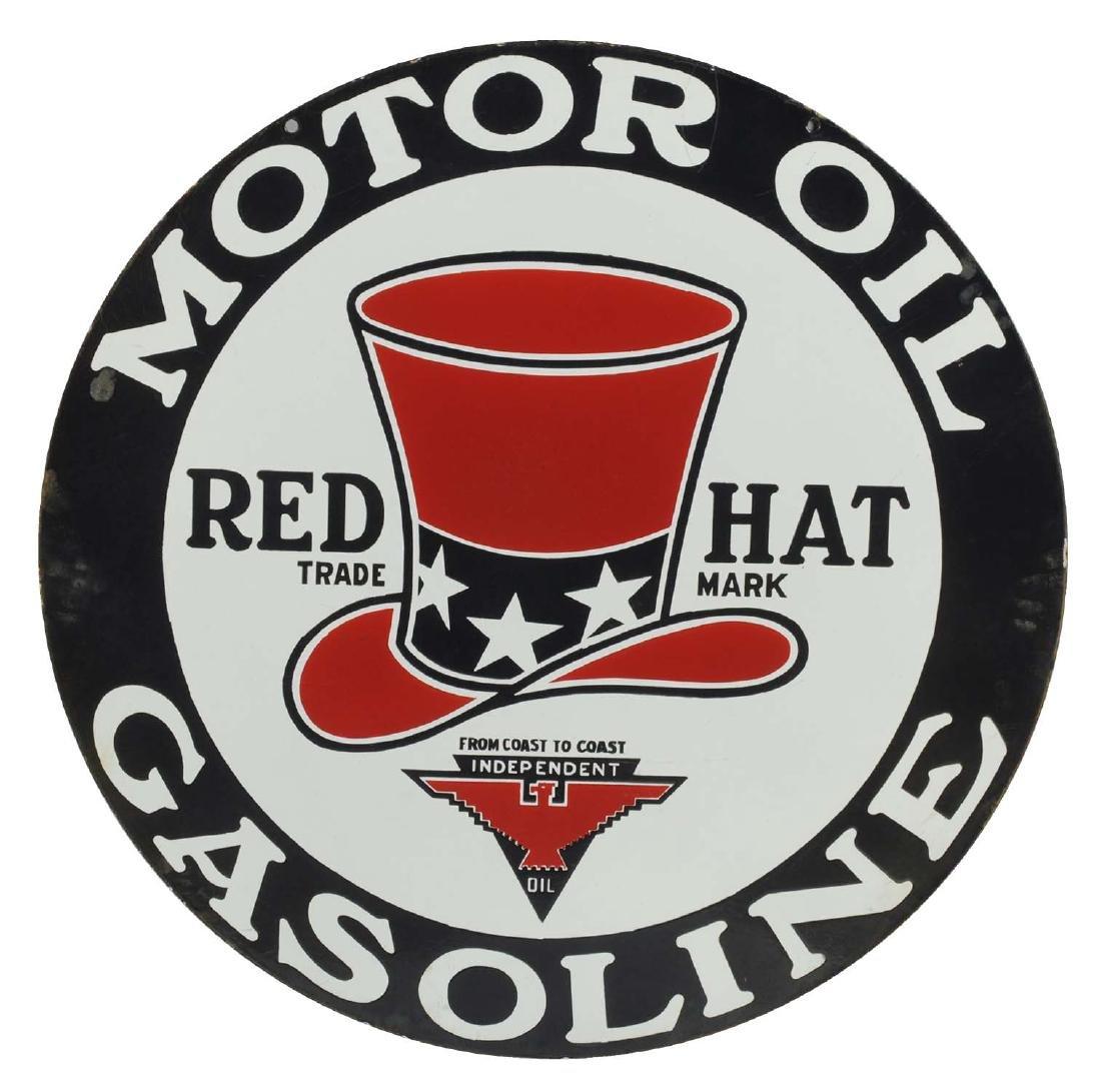 """Red Hat Motor Oil & Gasoline 32"""" Porcelain Sign."""