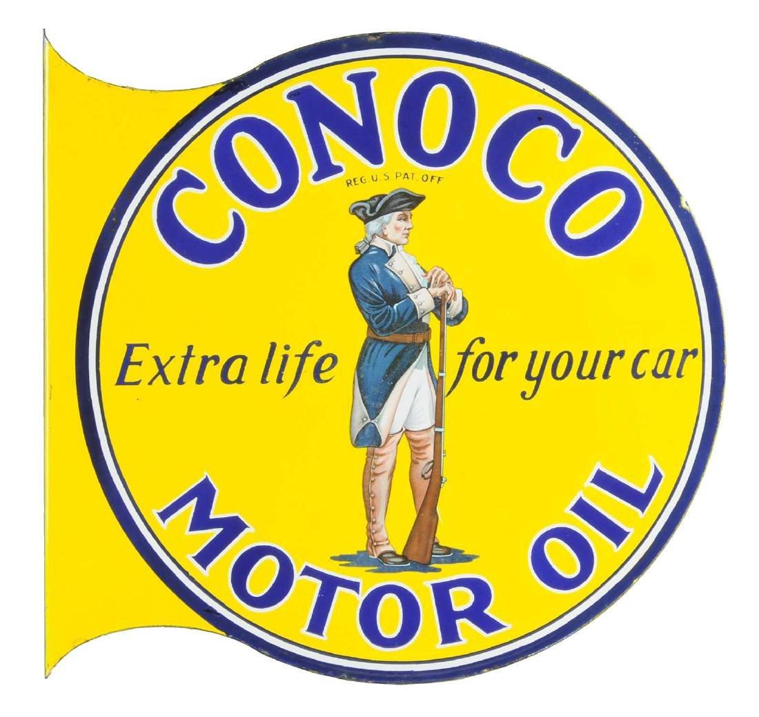 Conoco Motor Oil Minuteman Porcelain Flange Sign.
