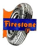 Firestone Tires Diecut Tire Porcelain Flange Sign.
