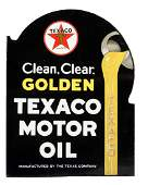 Texaco Golden Clear Motor Oil Porcelain Flange Sign