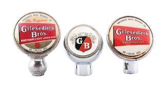 Lot of 3 Griesedieck Bros Beer Tap Knobs