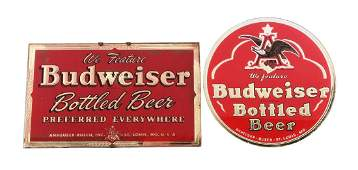 Lot of 2: Budweiser Beer Reverse on Glass Signs.