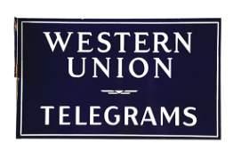 Western Union Porcelain Flange Sign