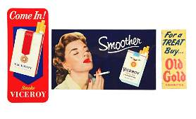 Lot Of 3: Old Gold & Viceroy Cigarettes Tin Signs.