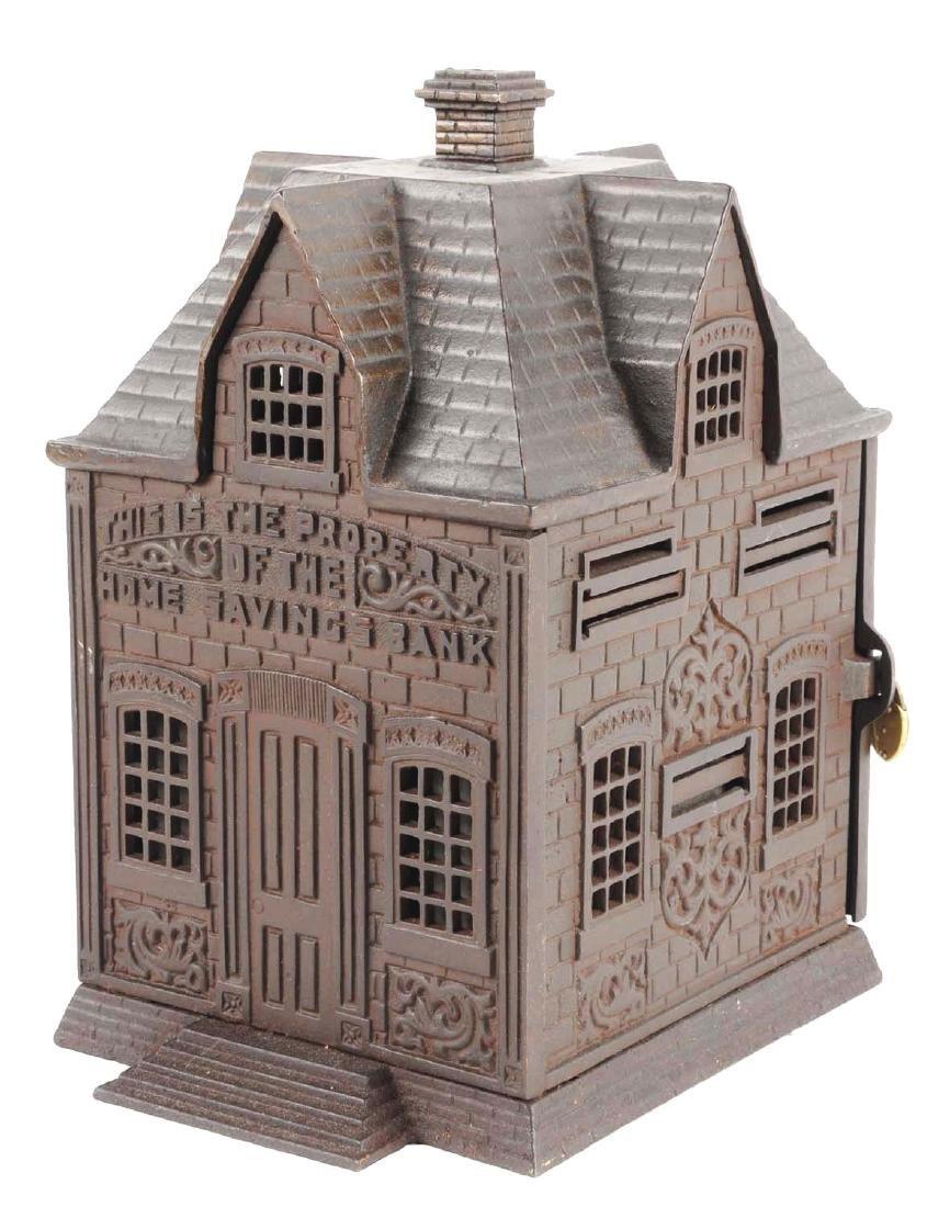 Large Home Savings Cast Iron Building Still Bank.