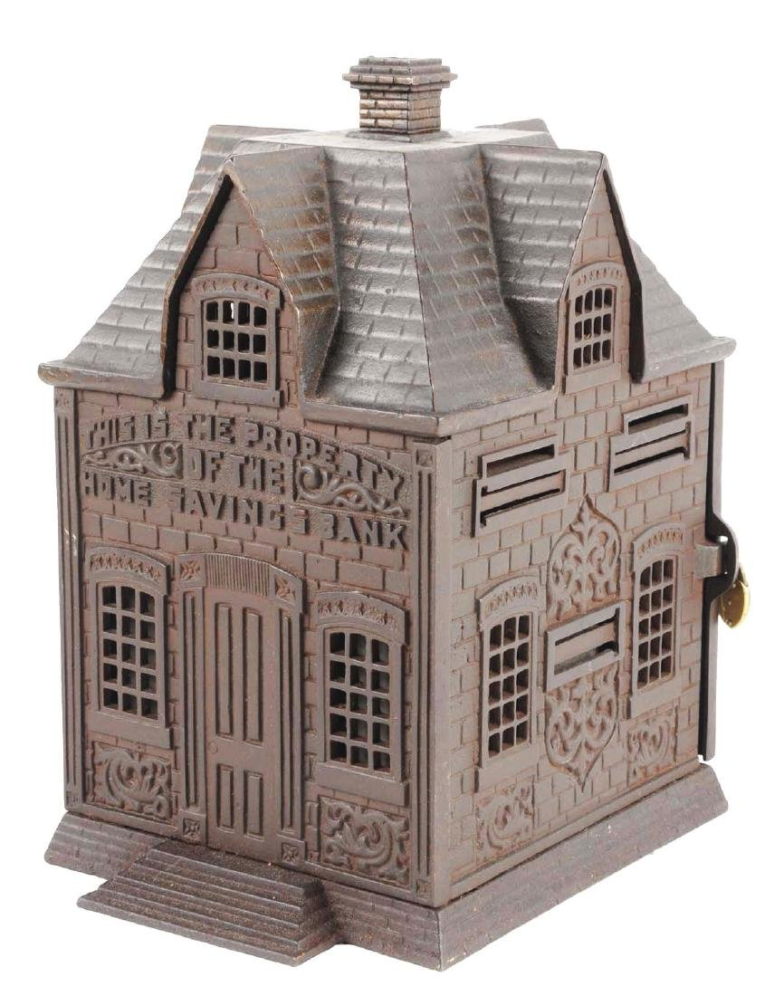 Large Home Savings Cast Iron Building Still Bank.