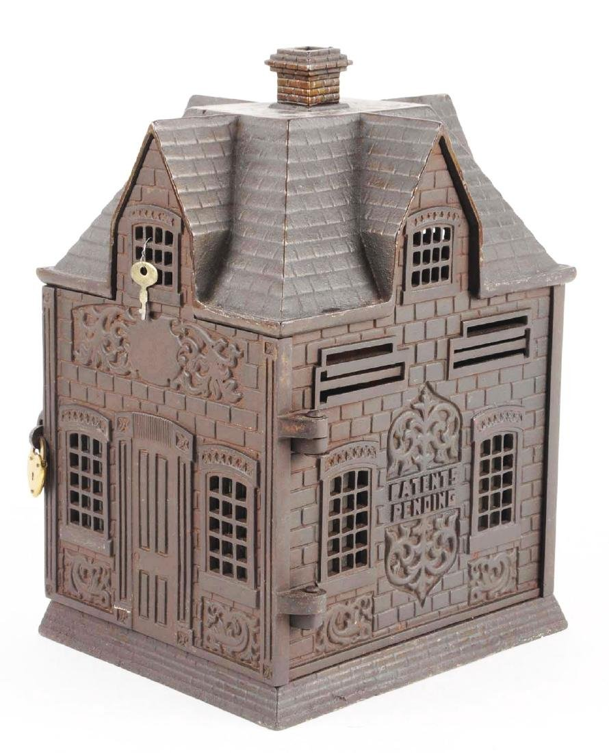 Large Home Savings Cast Iron Building Still Bank. - 2