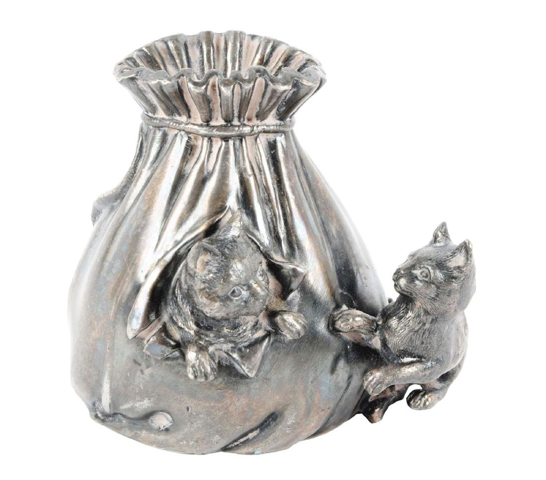 Cats with Money Bag Silvered Cast Metal Still Bank.