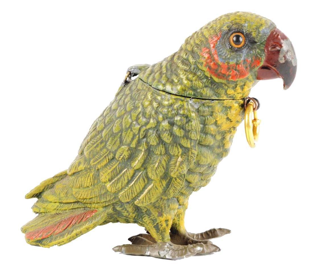 Spelter Painted Parrot Still Bank.
