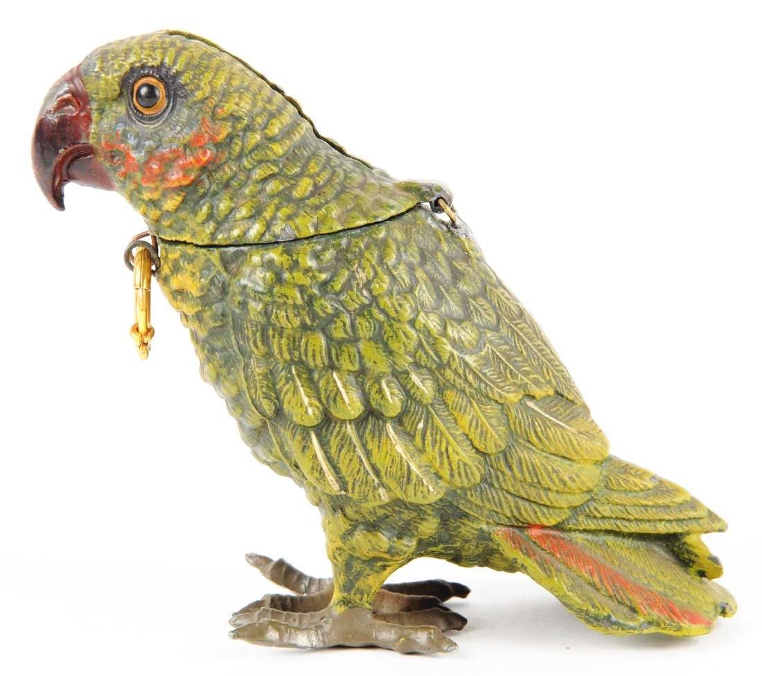 Spelter Painted Parrot Still Bank. - 2