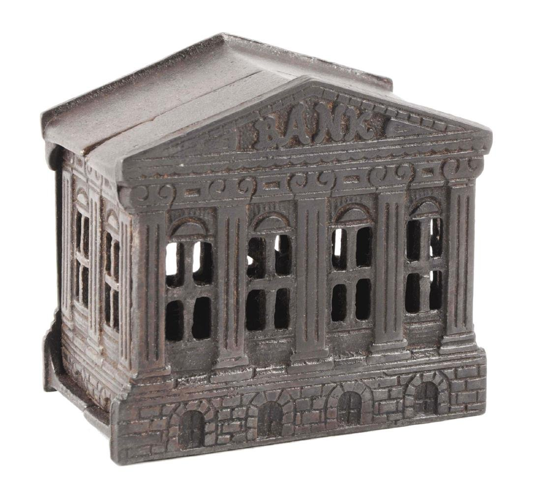 English Cast Iron Building Bank Japanned.