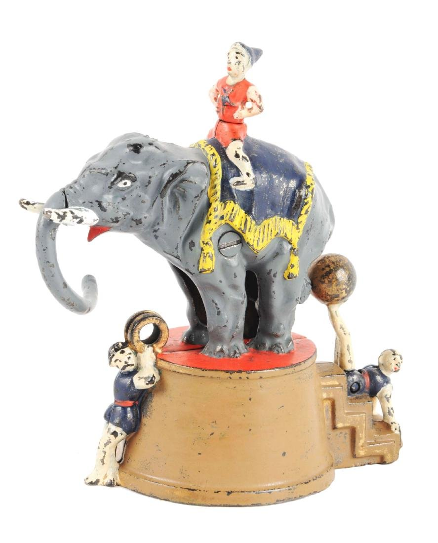 J. & E. Stevens Elephant & Three Clowns Cast Iron