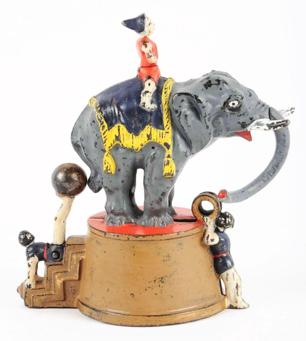 J. & E. Stevens Elephant & Three Clowns Cast Iron - 2
