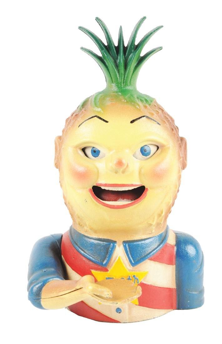 Cast Iron Penny Pineapple Mechanical Bank.